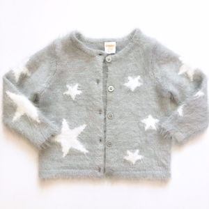 Girls Gymboree Fuzzy Gray Silver Sweater 18-24